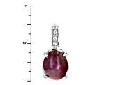 Red Star Ruby Sterling Silver Pendant With Chain 3.85ctw