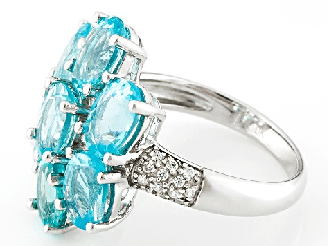 Blue Apatite Sterling Silver Ring 4.94ctw