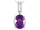 Purple Fluorite Sterling Silver Pendant With Chain 3.66ctw