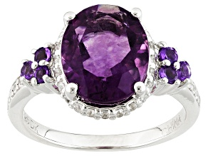 Purple Fluorite Sterling Silver Ring 3.90ctw