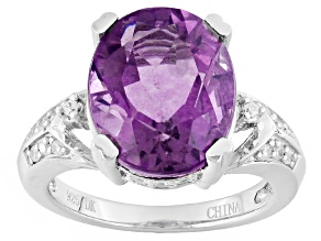 Purple Fluorite Sterling Silver Ring 5.18ctw.