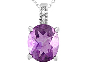 Purple Fluorite Sterling Silver Pendant With Chain 4.70ctw