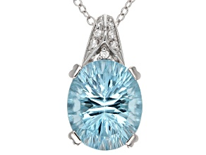 Sky Blue Topaz And White Zircon Sterling Silver Pendant With Chain 5.88ctw