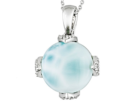 Blue Larimar Sterling Silver Pendant With Chain .30ctw