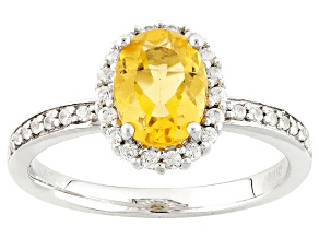 Yellow Beryl Sterling Silver Ring 1.02ctw