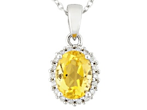 Yellow Beryl Sterling Silver Pendant With Chain .91ctw
