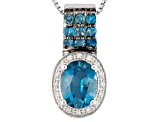 London Blue Topaz Sterling Silver Pendant With Chain 2.36ctw