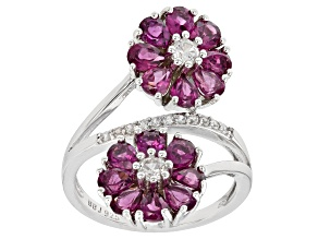 Purple Rhodolite Rhodium Over Sterling Silver Ring 4.08ctw