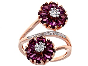 Purple Rhodolite 18k Rose Gold Over Silver Ring 4.13