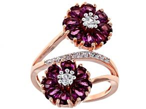 Raspberry Color Rhodolite 18k Rose Gold Over Silver Ring 4.13