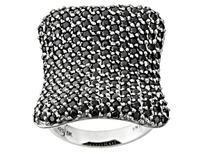 Black Spinel Sterling Silver Ring 3.17ctw