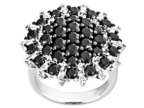 Black Spinel Sterling Silver Ring 4.21ctw
