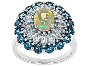 Ethiopian Opal Sterling Silver Ring 3.84ctw