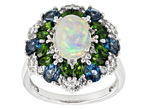 Ethiopian Opal Sterling Silver Ring 3.18ctw