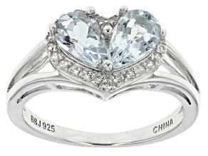 Blue Aquamarine Sterling Silver Ring 1.71ctw