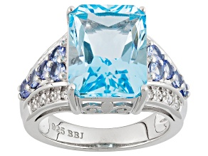 Sky Blue Topaz Sterling Silver Ring 9.37ctw