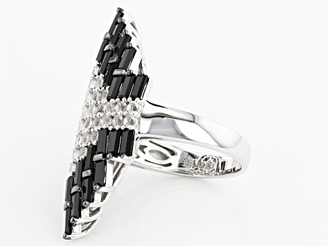 Black Spinel Rhodium Over Sterling Silver Ring 5.27ctw