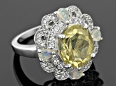 Canary Yellow Quartz Sterling Silver Ring. 5.56ctw