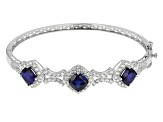 Blue Lab Created Sapphire Sterling Silver Bangle Bracelet 11.35ctw