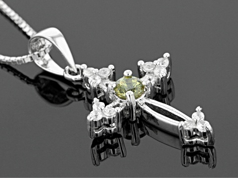 Green Demantoid Garnet Sterling Silver Pendant With Chain .46ctw