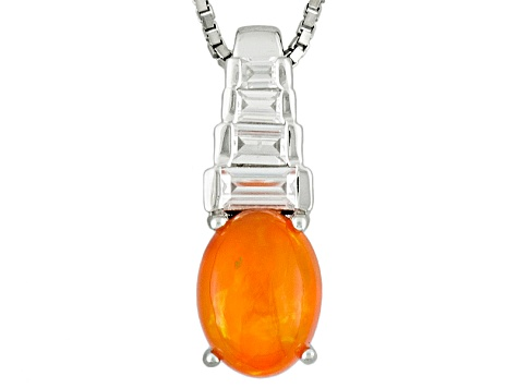 Orange Ethiopian Opal Sterling Silver Pendant With Chain. .96ctw