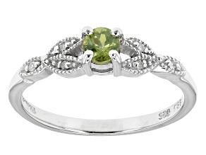Green Demantoid Sterling Silver Ring .29ctw