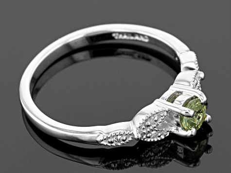 Green Demantoid Sterling Silver Ring .29ctw
