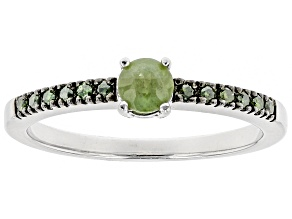 Green Demantoid Garnet Sterling Silver Ring .34ctw