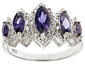Blue Iolite Sterling Silver Ring 1.27ctw
