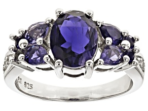 Blue Iolite Rhodium Over Sterling Silver Ring 2.29ctw