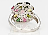 Multi-Color Tourmaline Sterling Silver Ring. 3.17ctw