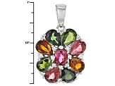 Multi-Color Tourmaline And White Zircon Sterling Silver Pendant With Chain. 3.24ctw