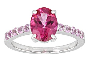 Pink Danburite And Pink Sapphire Sterling Silver Ring 1.99ctw