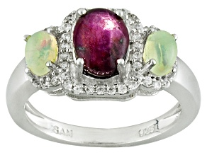 Red Star Ruby Sterling Silver Ring 2.83ctw
