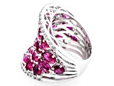 Red Lab Created Ruby Sterling Silver Ring 10.54ctw