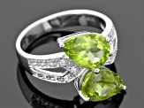 Green Peridot Sterling Silver Ring 3.63ctw