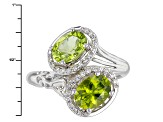 Green Peridot Sterling Silver Bypass Ring 2.70ctw