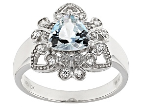 Blue Aquamarine Silver Ring .87ctw