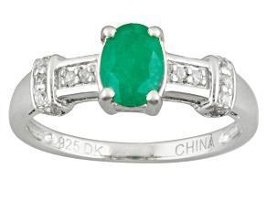 Green Brazilian Emerald Sterling Silver Ring .73ctw