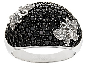 Black Spinel Silver Butterfly Ring 2.03ctw