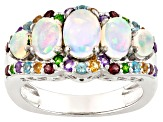 Ethiopian Opal Rhodium Over Sterling Silver Ring 1.91ctw