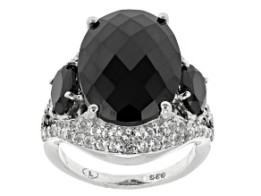 Black Spinel Sterling Silver Ring 16.34ctw
