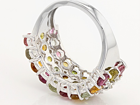 Multi-Color Tourmaline And White Zircon Sterling Silver Ring. 3.95ctw