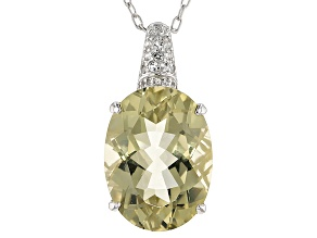 Canary Yellow Quartz Silver Pendant With Chain 12.28ctw