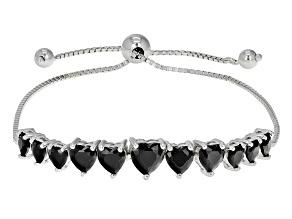 Black Spinel Sterling Silver Sliding Adjustable Bracelet 3.39ctw