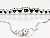 Black Spinel Sterling Silver Sliding Adjustable Bracelet 3.39ctw