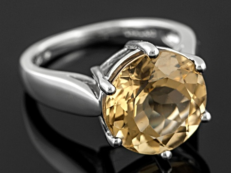 Womens Solitaire Ring Champagne Quartz 6.50ctw 12mm Sterling Silver