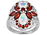 Womens Cocktail Ring Opal Red Garnet White Diamond 3.39ctw Silver