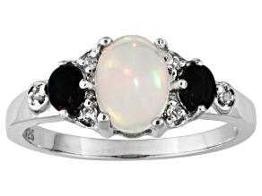 Ethiopian Opal, Chalama Black Opal ™, White Topaz, 1.20ctw Sterling Silver Ring