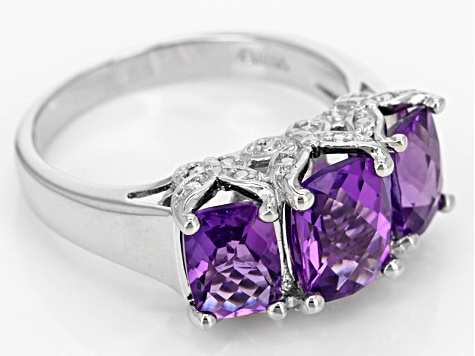 Purple African Amethyst Rhodium Over Sterling Silver 3-Stone Ring 3.03ctw